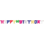 Jointed Banner 11cm X 1.4m-Happy Birthday/Multi Colours