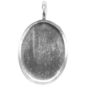Base Elements Oval Pendant 17mmX23mm 1/Pkg-Silver Overlay