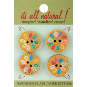 Handmade Glass Buttons-Circles 4/Pkg