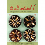 Handmade Bone Buttons-Circles Petal Pattern 4/Pkg