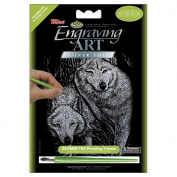 Royal Brush 422063 Mini Silver Foil Engraving Art Kit 5 in. x 7 in. -Prowling Friends