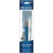 Brush Set Value Pack Gold Taklon 3/Pkg-Detail 3, 2, 0