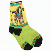 K Bell SOCKS-1049Y Laurel Burch Socks-Giraffes -Yellow-Green