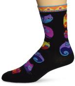 K Bell 86181 Laurel Burch Socks-Feline Festival -Black