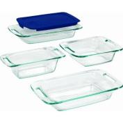 Pyrex Easy Grab 5 piece set includes, 1-ea 2.8l oblong with blueplastic cover, 2.8l oblong, 20.3cm square, 2.8l loaf dish