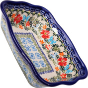 Polish Pottery Ceramika Boleslawiec, 1208/238, Fala Baker Small, 7 3/4 by 15.6cm - 3 Cups, Royal Blue Patterns with Red Cornflower and Blue Butterflies Motif