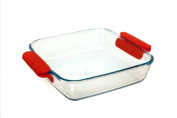 Marinex Prediletta Large Square Glass Roaster with Red Silicone Handles, 3.8l