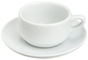 Kitchen Supply 8113 White Porcelain Espresso Cup and Saucer, 90ml