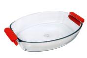 Marinex Prediletta Medium Oval Glass Roaster with Red Silicone Handles, 3.2l