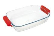Marinex Prediletta Medium Rectangular Glass Roaster with Red Silicone Handles, 2.6l