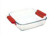 Marinex Prediletta Medium Square Glass Roaster with Red Silicone Handles, 1.8l