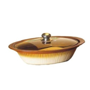 Essential Décor Entrada Collection GL89677 Ceramic Oval Casserole Dish with Cover, 40.6cm