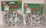 2 Packages of Cake Mate Christmas Holiday Holly & Berries Baking Cups