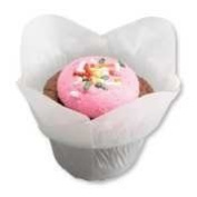 Hoffmaster 611110 Lotus Cup Cupcake Wrapper/Baking Cup, 1-0.6cm Diameter x 2-0.6cm Height, Small, White