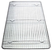 Update international Cross-Wire Grid Cooling Rack, Wire Pan Grate, Baking Rack, Icing Rack, Chrome Plated Steel, Rectangle Shape, 6-Raised Feet, Commercial Quality, Full Size - 25cm x 46cm