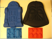 Star Wars R2-d2 Darth Vader Silicone Birthday Cake Pan Mould Ice Tray Set of 4
