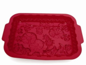 SiliconeZone 34.3cm by 25.4cm Red Wildflower Pan