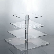 4 Tier Square Pole Wedding Acrylic Cupcake Stand Tree Tower Cup Cake Display for 54 Cupcakes