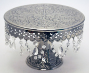 Wedding Cake Stand Round Pedestal Silver finish 35.6cm with Crystals