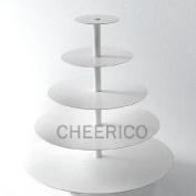 CHEERICO 5 Tier White Maypole Round Wedding Acrylic Cupcake Stand Tree Tower Cup Cake Display