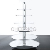 7 Tier Mirrored Effects Round Wedding Acrylic Cupcake Stand Tree Tower Cup Cake Display Dessert Tower