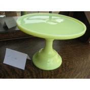 25.4cm Butter Cream Colour Glass Cake Stand Plate Bakery Grade