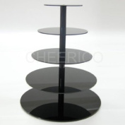 5 Tier Black Pole Wedding Acrylic Cupcake Stand Tree Tower Cup Cake Display Dessert Tower