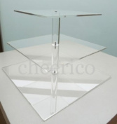 Cheerico.com - 3 Tier Large Square Pole Wedding Acrylic Cupcake Stand Tree Tower Cup Cake Display Dessert Tower for 50 Cupcakes