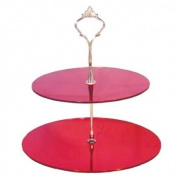 Two Tier Red Mirror Circle Cake Stand 23cm 19cm (7.5inch & 9inch height 9inch)