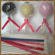 100 (15.2cm Lollipop Sticks + 7.6cm x12.7cm Bags + Printing Ties) for Cake Pops Lollipop Candy