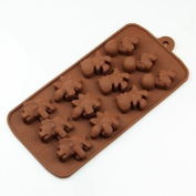 Wholeport 12 Cavities Dinosaurs Silicone Cake Pan Handmade Biscuit Mould