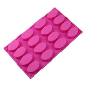 Wholeport 16-Cavities Oval Cake Shape Cake Mould Silicone Mould Flexible Mould