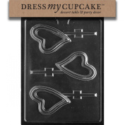 Dress My Cupcake DMCV145 Chocolate Candy Mould, New Heart Lollipop, Valentine's Day