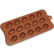 Freshware CB-605BR 15-Cavity Easter Egg Chocolate/Candy and Clay Silicone Mould, Brown