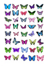 40x Mixed Colour Butterflies Edible Cake Toppers