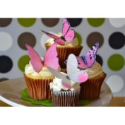 Edible Butterflies © -Large Pink Set of 12 - Cake and Cupcake Toppers, Decoration
