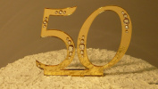 50th Wedding Anniversary Monogram Cake Topper with Rhinestones/Crystals/Bling - 7.6cm Tall