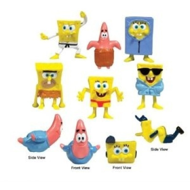 Spongebob and Patrick Mini Figures Set of 8 (Cake toppers or Party Favours)