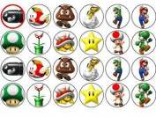 24 Super Mario Cupcake Wafer Toppers