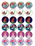 24 Ariel Little Mermaid Cupcake Wafer Toppers