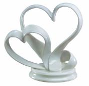 Ivy Lane Design Porcelain Double Hearts Cake Top, White, 12.4cm