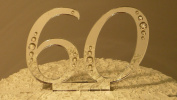 60th Wedding Anniversary Monogram Cake Topper with Rhinestones/Crystals/Bling - 7.6cm Tall