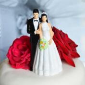 Bride and Groom Cake Topper - Medium Complexion w/ Dark Hair