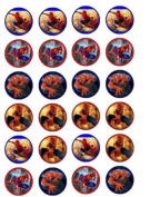 24 Spiderman Cupcake Wafer Toppers