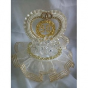 50th Anniversary Cake Top Crystal Like Flowers Decorated in Gold and Ivory 17.8cm Tall