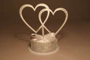Intertwined Hearts Mirrored Acrylic Monogram Wedding Cake Topper with Bling