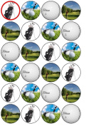 24 Golf Cupcake Wafer Toppers