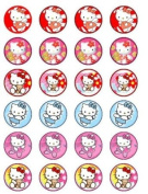 24 Hello Kitty #2 Cupcake Wafer Toppers