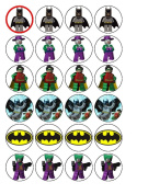 24 Lego Batman Cupcake Wafer Toppers