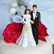 Bride and Groom Cake Topper - Light Complexion w/ Medium Dark Hair